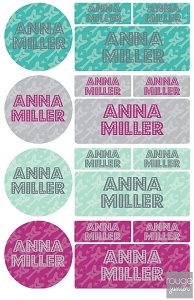 rockstar - waterproof name label combo - set of 64