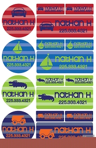 stripe iron-on label combo - set of 48