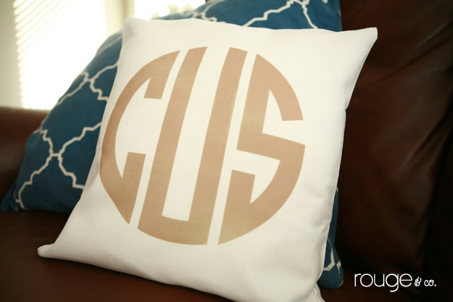 customizable monogrammed pillow cover by rouge & co.