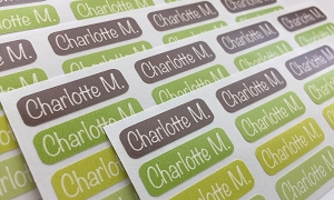 APPLE tiny name labels - set of 64
