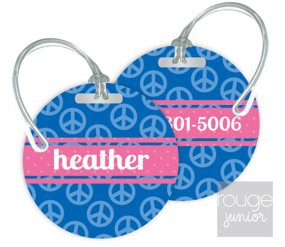 peace luggage tags - set of 2