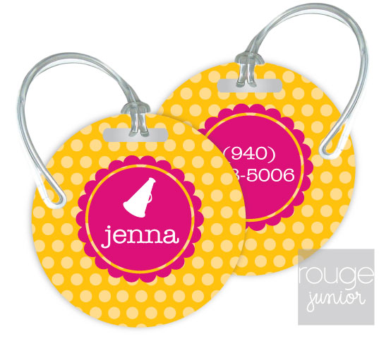 polka dot luggage tags - set of 2