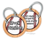 Baseball round premium bag tag