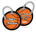 Basketball round premium bag tag