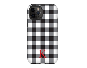 Black & White Buffalo Check Personalized iPhone Case