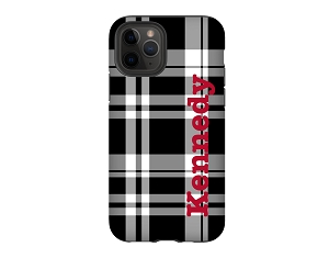 Black & White Plaid Personalized iPhone Case