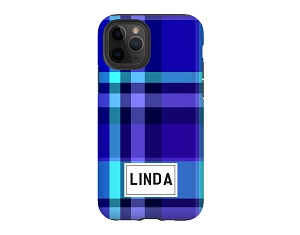 Blue Plaid Personalized iPhone Case
