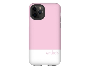 Pink & White Color Block Personalized iPhone Case