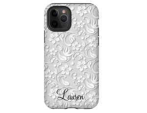 Embossed Floral Personalized iPhone Case