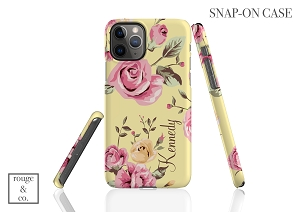 Yellow Floral Personalized iPhone Case