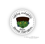 Monster round halloween goodie tags - set of 24