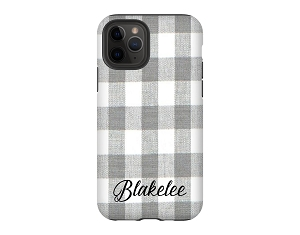 Gray & White Buffalo Check Personalized iPhone Case
