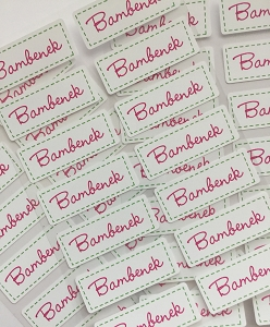 Stitched In pink - iron-on clothing labels - set of 42