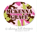 Mini Pink Camo waterproof name labels