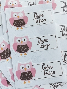Pink Owl waterproof name labels