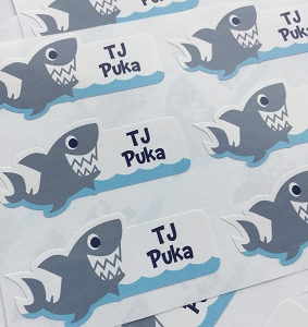 Shark waterproof name labels