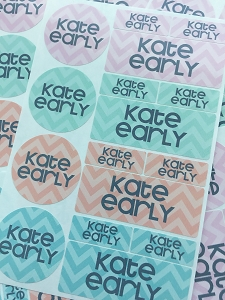 pastel chevron - waterproof name label combo - set of 64