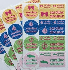 polka dot - waterproof name label combo - set of 64