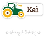 Tractor mini die cut name labels - set of 26