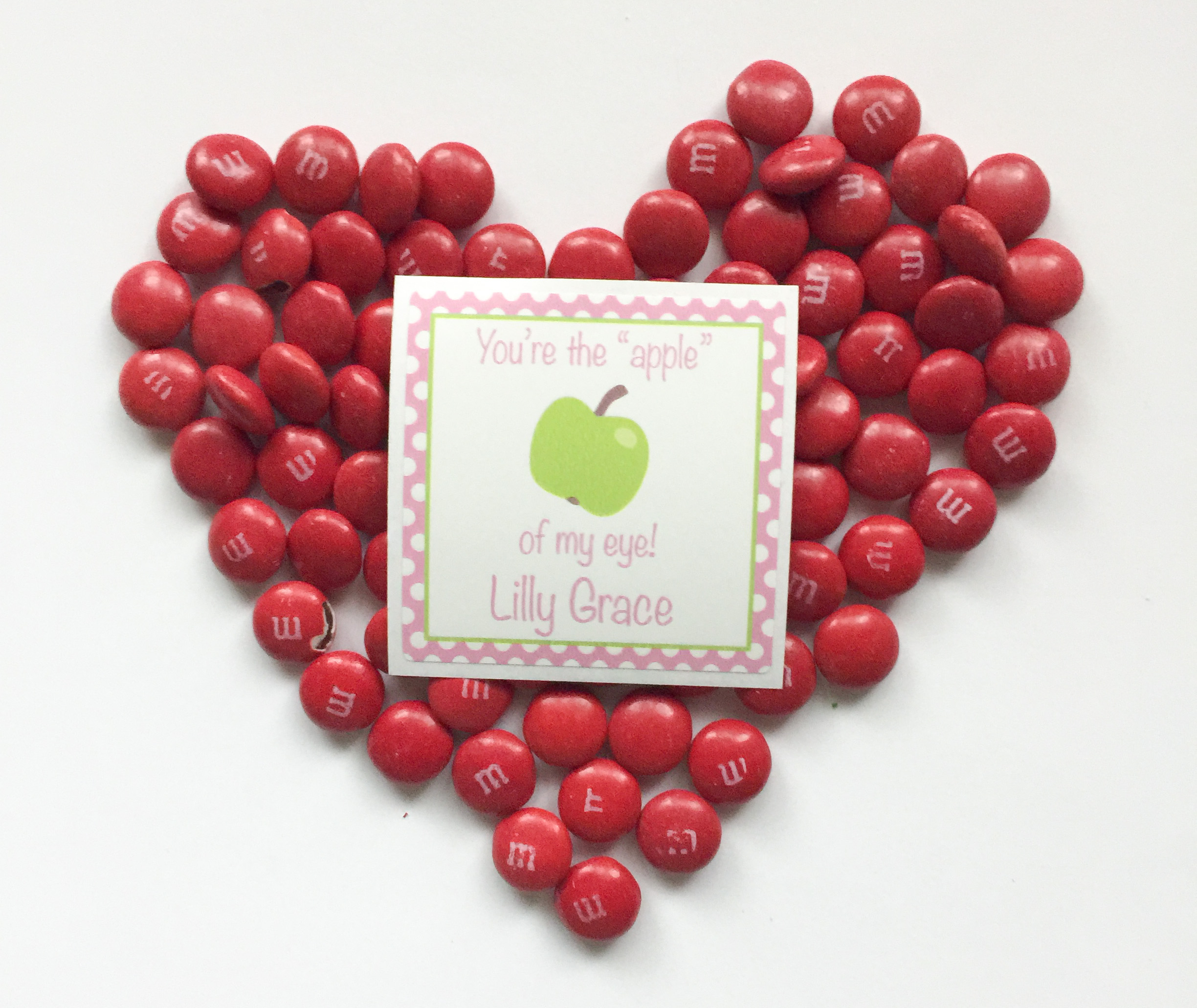You are the APPLE of my eye Valentine labels - set of 24