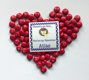 there's no lion (boy) Valentine labels - set of 24
