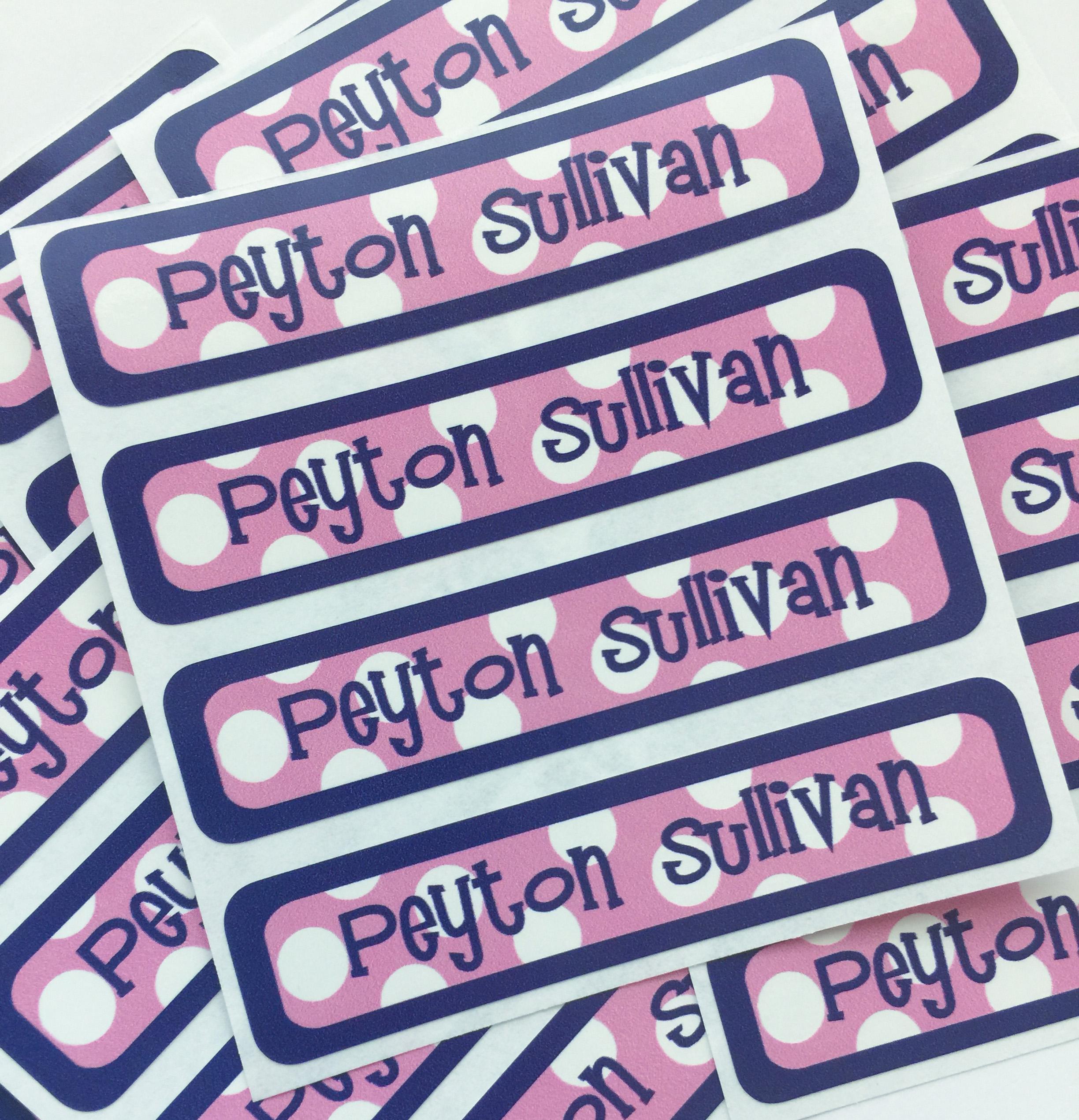 Sailor pink waterproof name labels