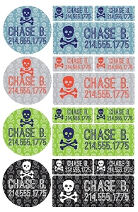 skulls - waterproof name label combo - set of 64