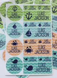 waves - waterproof name label combo - set of 64