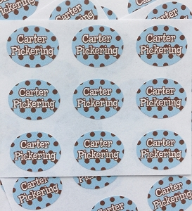 Chocolate Dots blue - mini waterproof name labels - set of 66