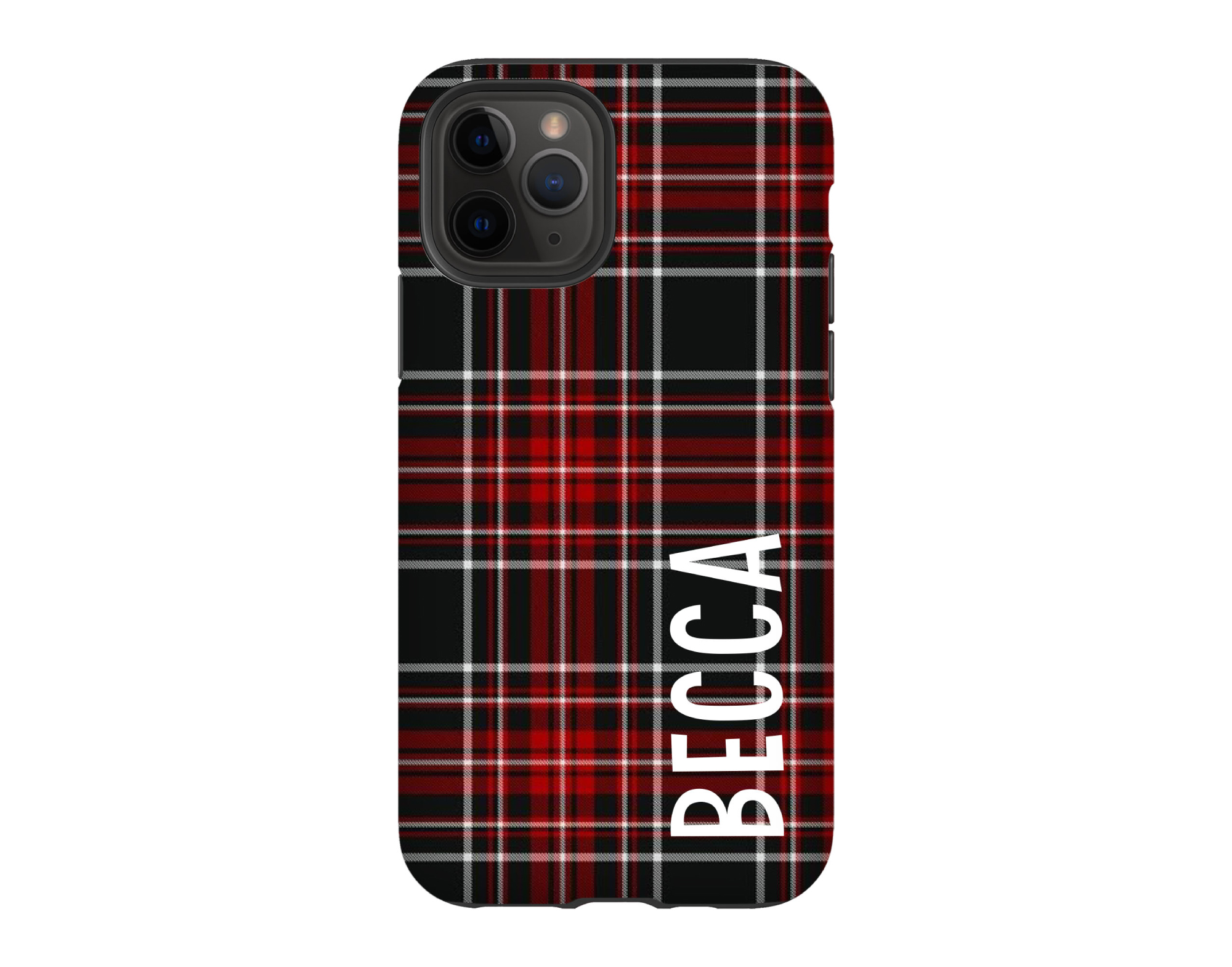 Holiday Plaid Personalized iPhone Case