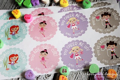 Valentine GIRL scallop labels - set of 24