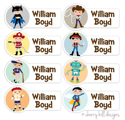 Character {boys} - mini waterproof labels - set of 64