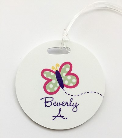 Butterfly round premium bag tag