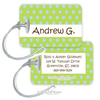 Confetti {lime/blue} premium bag tag