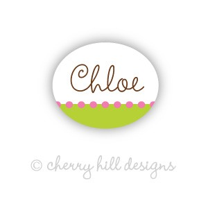 Mini Confetti {lime/pink} waterproof name labels