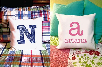 custom text or monogram pillow cover