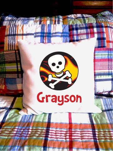 Skull-n-flames - personalized pillow cover