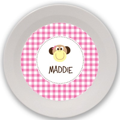 Monkey {pink} melamine kids bowl