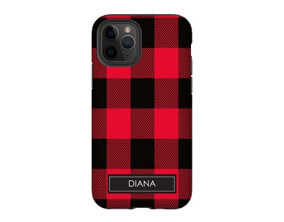 Red & Black Buffalo Check Personalized iPhone Case