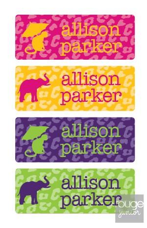 cheetah - mini waterproof labels - set of 72