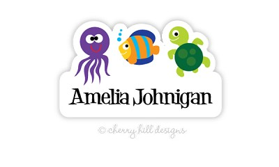 Sea Creatures waterproof name labels