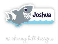 Shark mini die cut name labels - set of 26