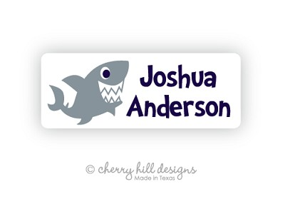 Shark iron on name labels