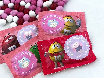 Owl be your friend Valentine scallop labels - set of 24