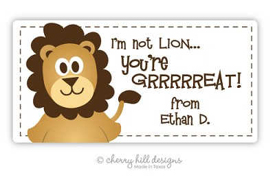Valentine Lion jumbo labels - set of 20