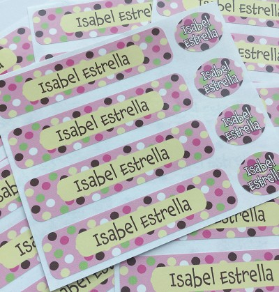 Carnival pink - waterproof name labels value combo - set of 24