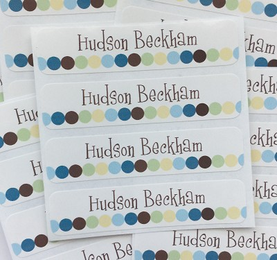 Dot Dot Dot blue - large waterproof name labels - set of 24