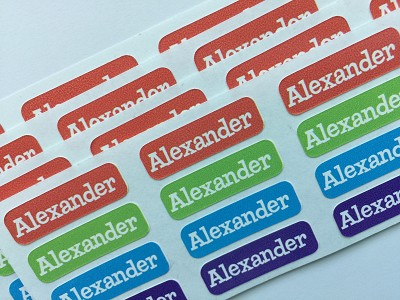 brights - tiny waterproof name labels - set of 64