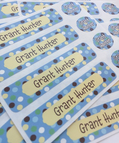 Carnival blue - waterproof name labels value combo - set of 24