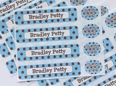 Chocolate Dots blue - waterproof name labels value combo - set of 24